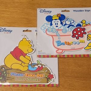 2x Wooden Disney Entry and Bathroom Signs